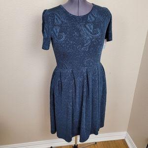 LuLaRoe Amelia Dark Blue Illusion Paisley Dress 2X